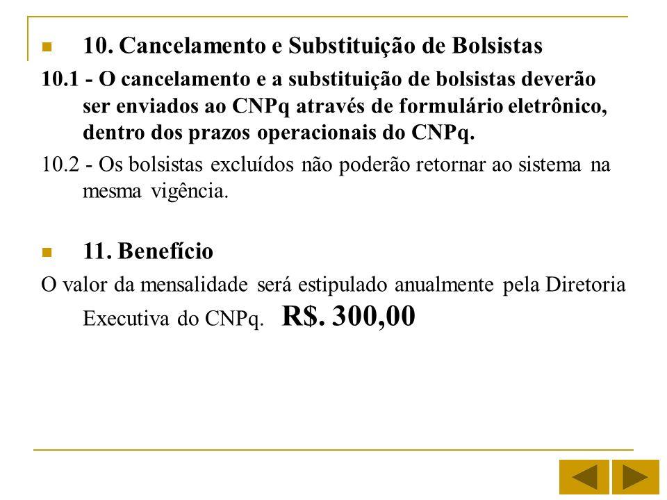 10. Cancelamento e Substituição de Bolsistas