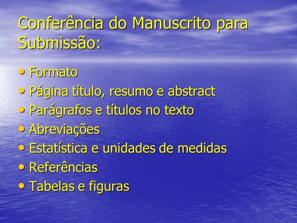 Conferência do Manuscrito para Submissão: