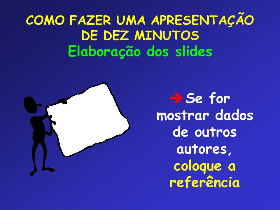 COMO FAZER UMA APRESENTAÇÃO DE DEZ MINUTOS Elaboração dos slides