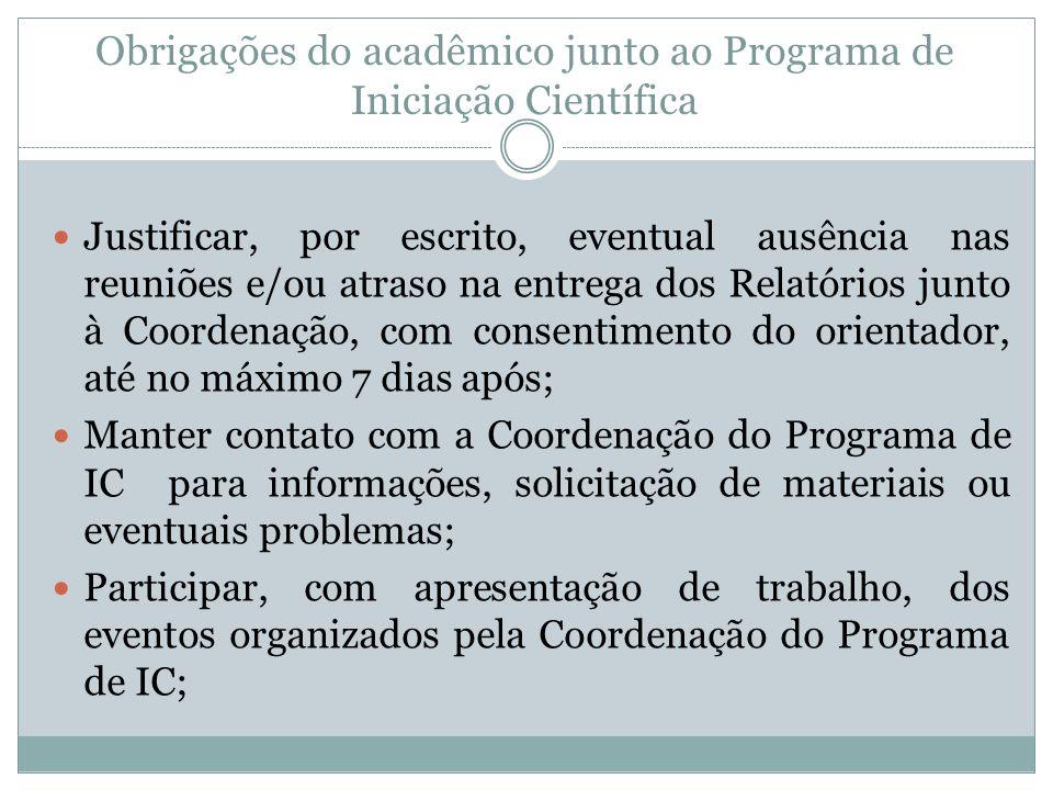 Obrigações do acadêmico junto ao Programa de Iniciação Científica