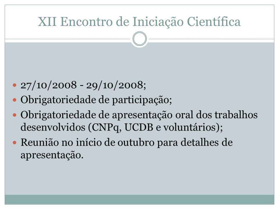XII Encontro de Iniciação Científica