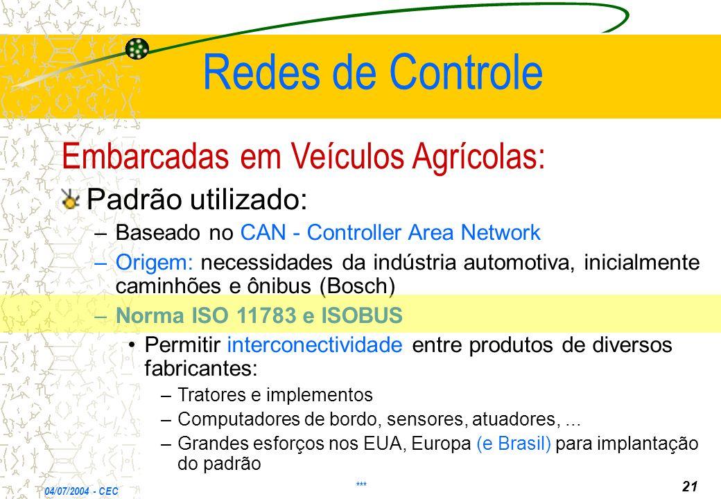 Redes de Controle Embarcadas em Veículos Agrícolas: Padrão utilizado: