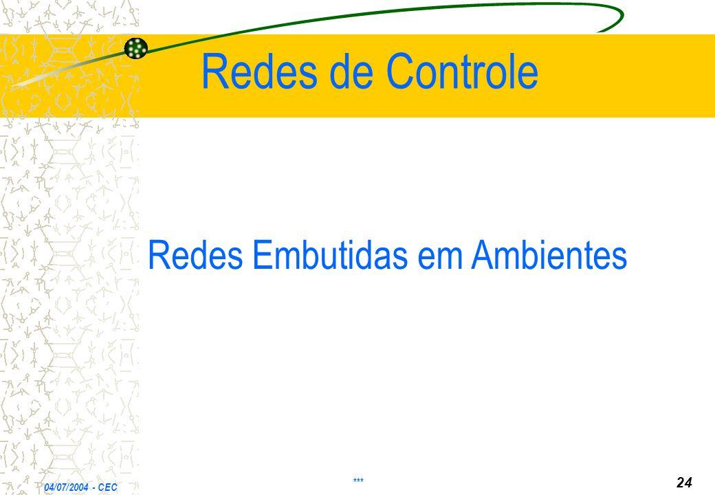 Redes de Controle Redes Embutidas em Ambientes 24 *** 04/07/2004 - CEC
