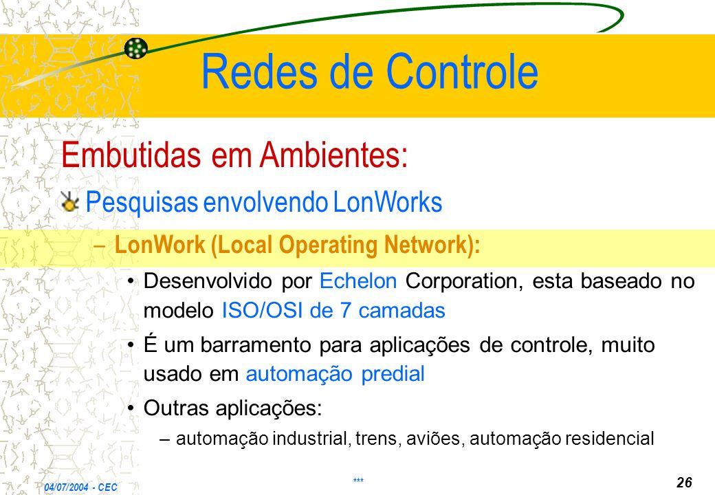 Redes de Controle Embutidas em Ambientes:
