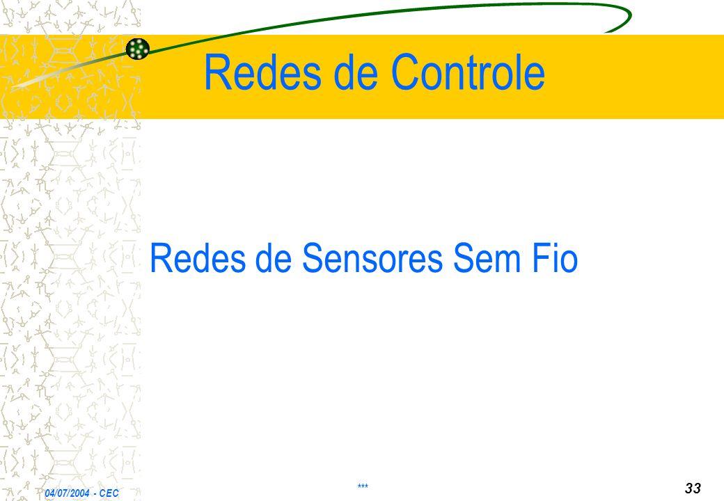 Redes de Controle Redes de Sensores Sem Fio 33 *** 04/07/2004 - CEC