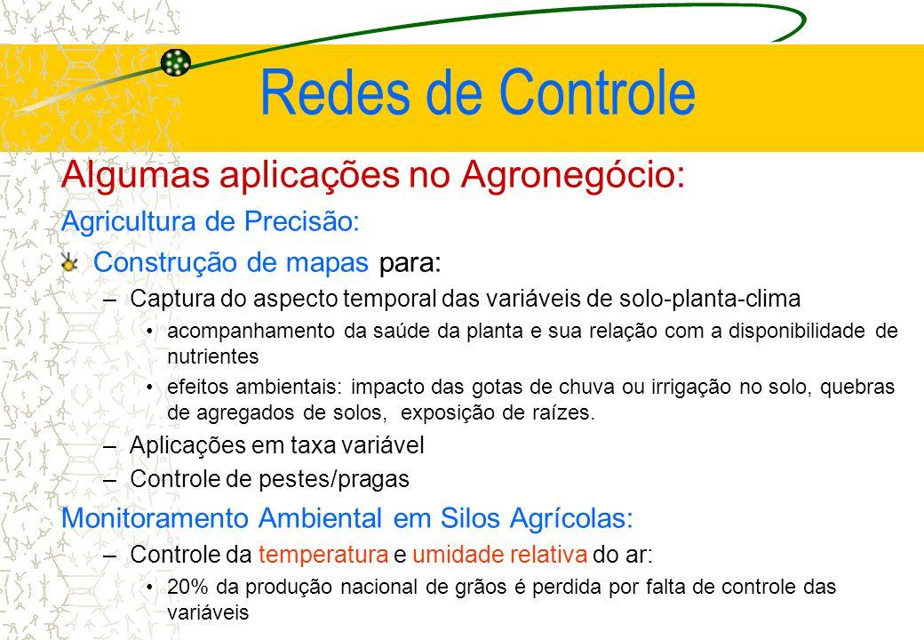 Redes de Controle Algumas aplicações no Agronegócio: