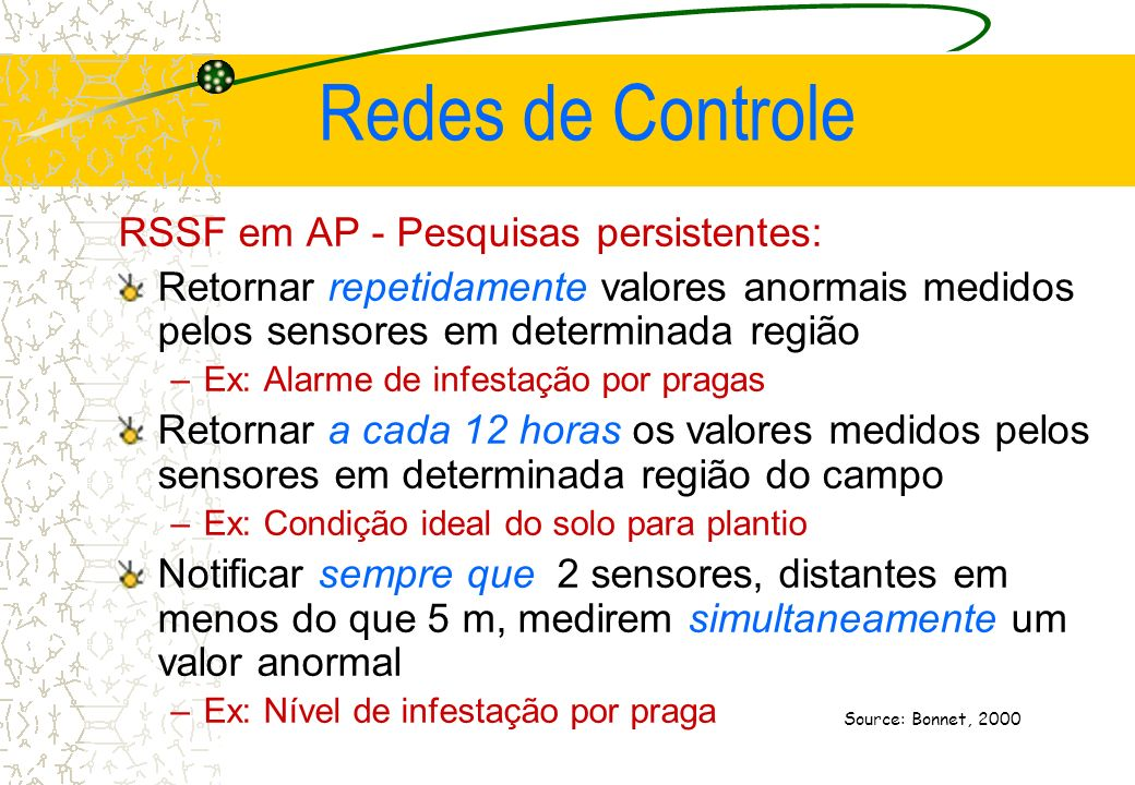 Redes de Controle RSSF em AP - Pesquisas persistentes: