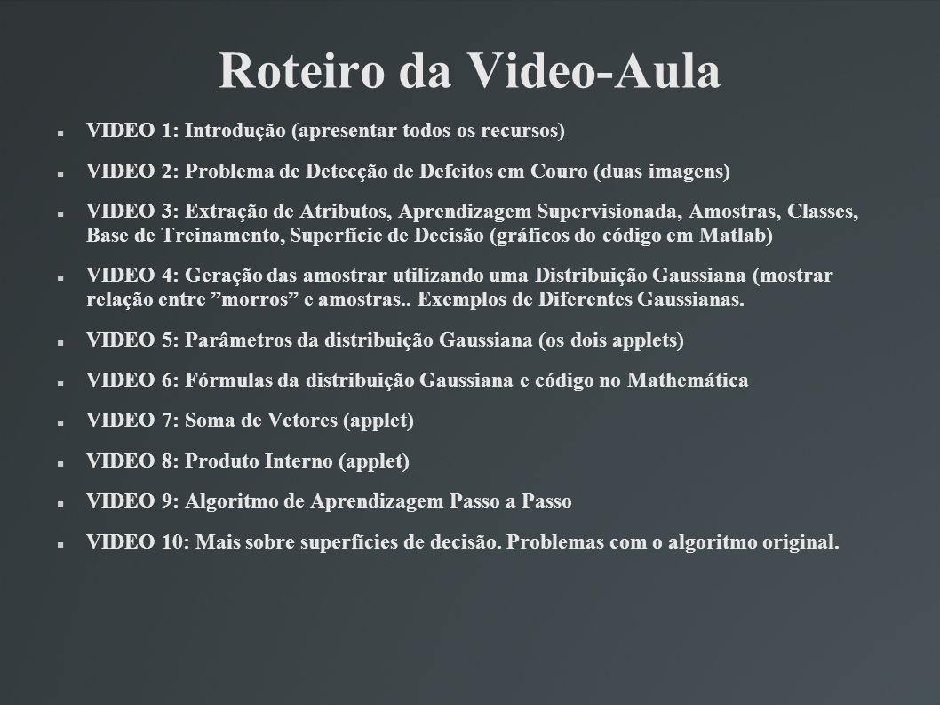 Roteiro da Video-Aula VIDEO 1: Introdução (apresentar todos os recursos) VIDEO 2: Problema de Detecção de Defeitos em Couro (duas imagens)
