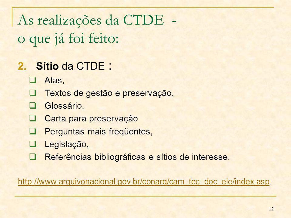 As realizações da CTDE - o que já foi feito: