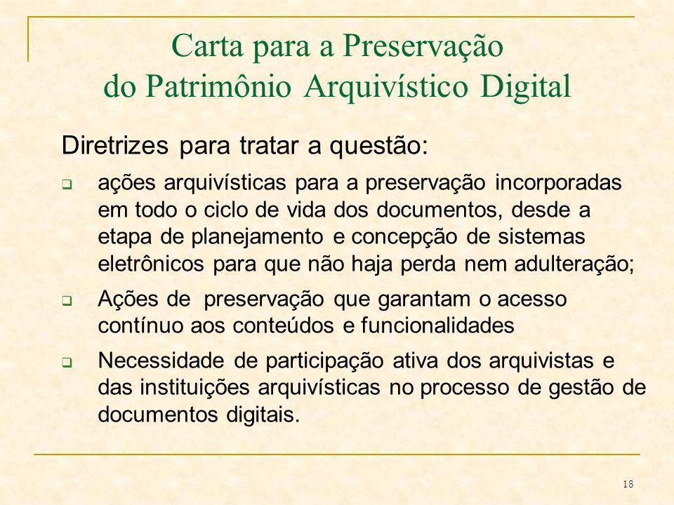 Carta para a Preservação do Patrimônio Arquivístico Digital