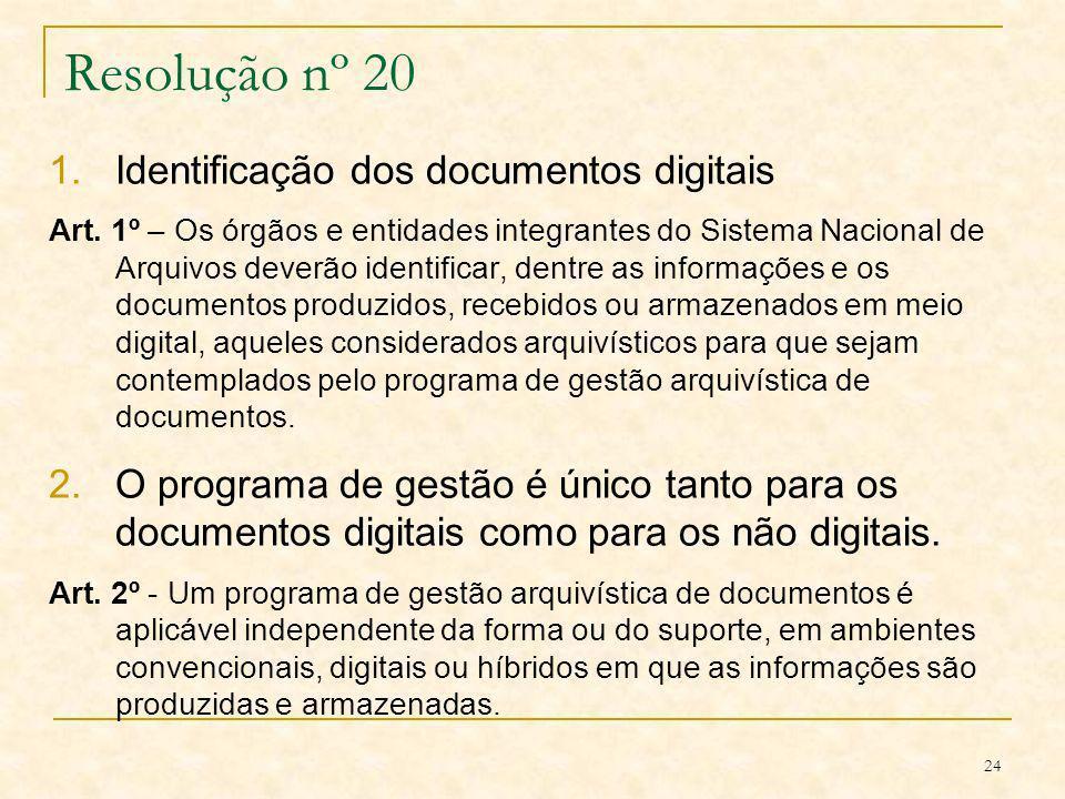 Resolução nº 20 Identificação dos documentos digitais
