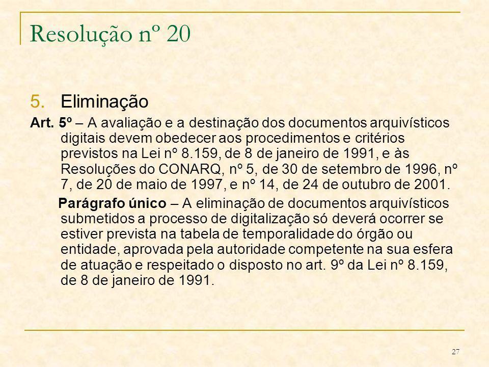 Resolução nº 20 Eliminação