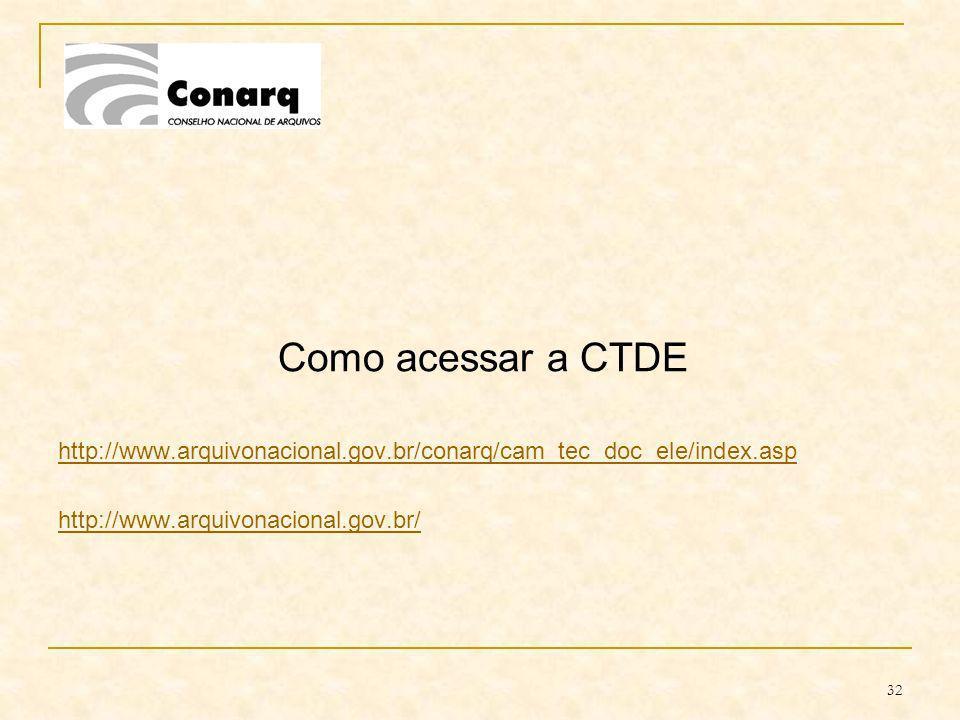 Como acessar a CTDEhttp://www.arquivonacional.gov.br/conarq/cam_tec_doc_ele/index.asp.