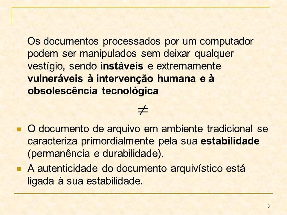 Os documentos processados por um computador podem ser manipulados sem deixar qualquer vestígio, sendo instáveis e extremamente vulneráveis à intervenção humana e à obsolescência tecnológica