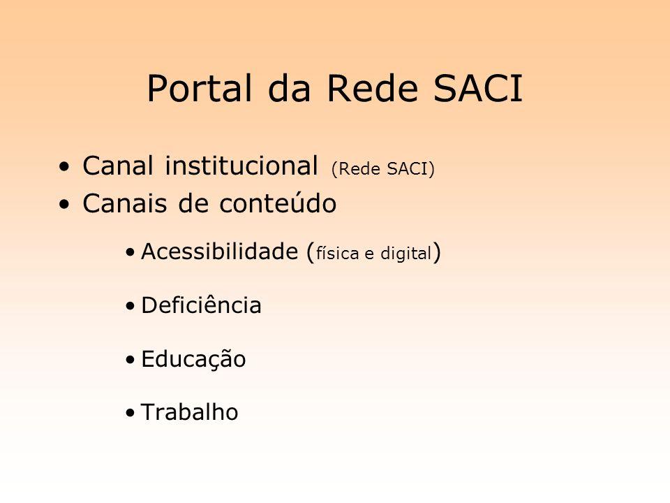 Portal da Rede SACI Canal institucional (Rede SACI) Canais de conteúdo