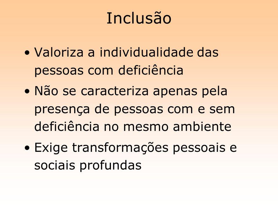 Inclusão Valoriza a individualidade das pessoas com deficiência