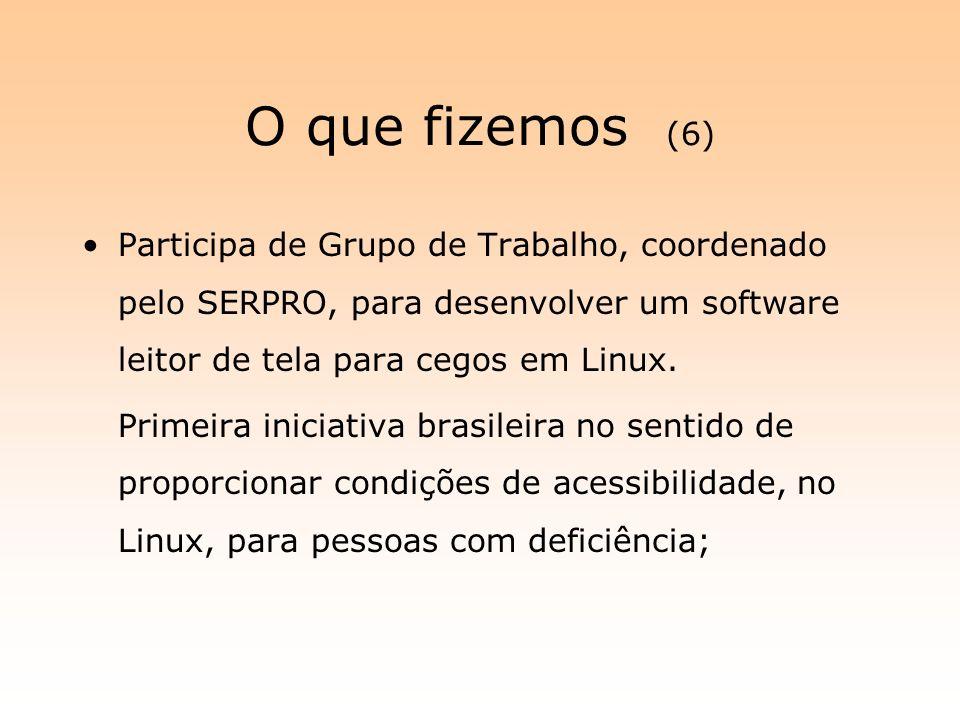 O que fizemos (6) Participa de Grupo de Trabalho, coordenado pelo SERPRO, para desenvolver um software leitor de tela para cegos em Linux.