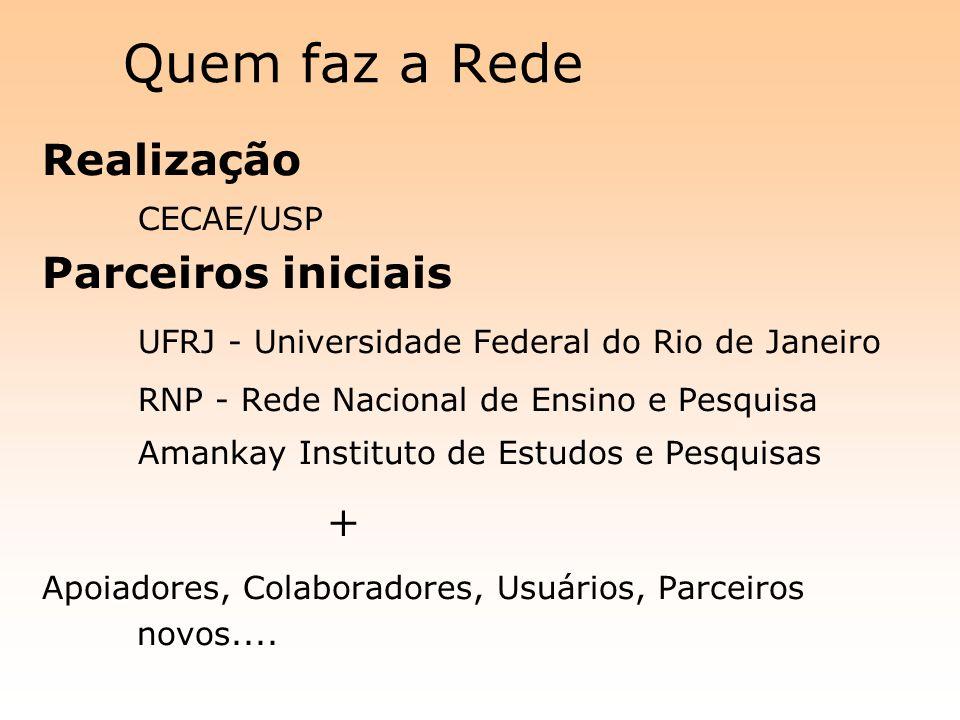 Quem faz a Rede + Realização CECAE/USP Parceiros iniciais