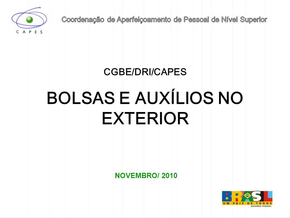 BOLSAS E AUXÍLIOS NO EXTERIOR