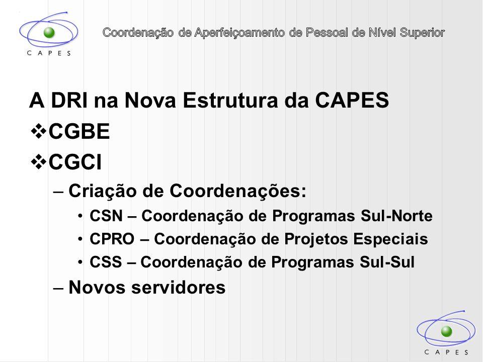 A DRI na Nova Estrutura da CAPES CGBE CGCI