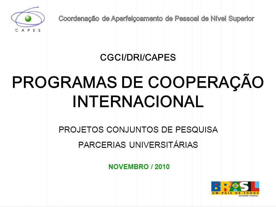 PROGRAMAS DE COOPERAÇÃO INTERNACIONAL