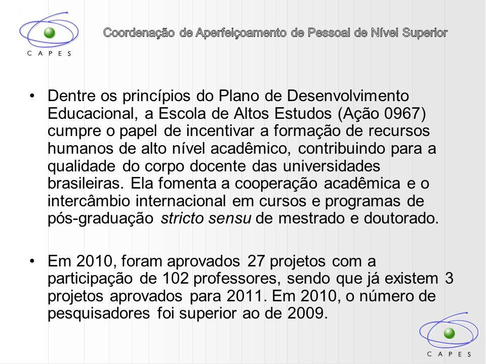 Dentre os princípios do Plano de Desenvolvimento Educacional, a Escola de Altos Estudos (Ação 0967) cumpre o papel de incentivar a formação de recursos humanos de alto nível acadêmico, contribuindo para a qualidade do corpo docente das universidades brasileiras. Ela fomenta a cooperação acadêmica e o intercâmbio internacional em cursos e programas de pós-graduação stricto sensu de mestrado e doutorado.