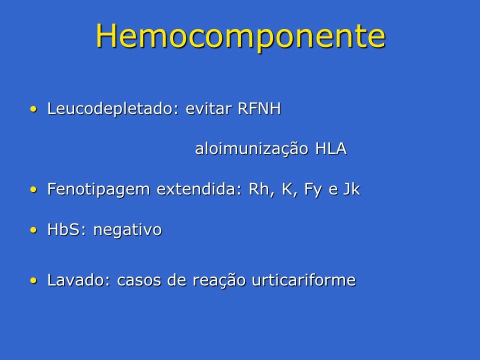 Hemocomponente Leucodepletado: evitar RFNH aloimunização HLA