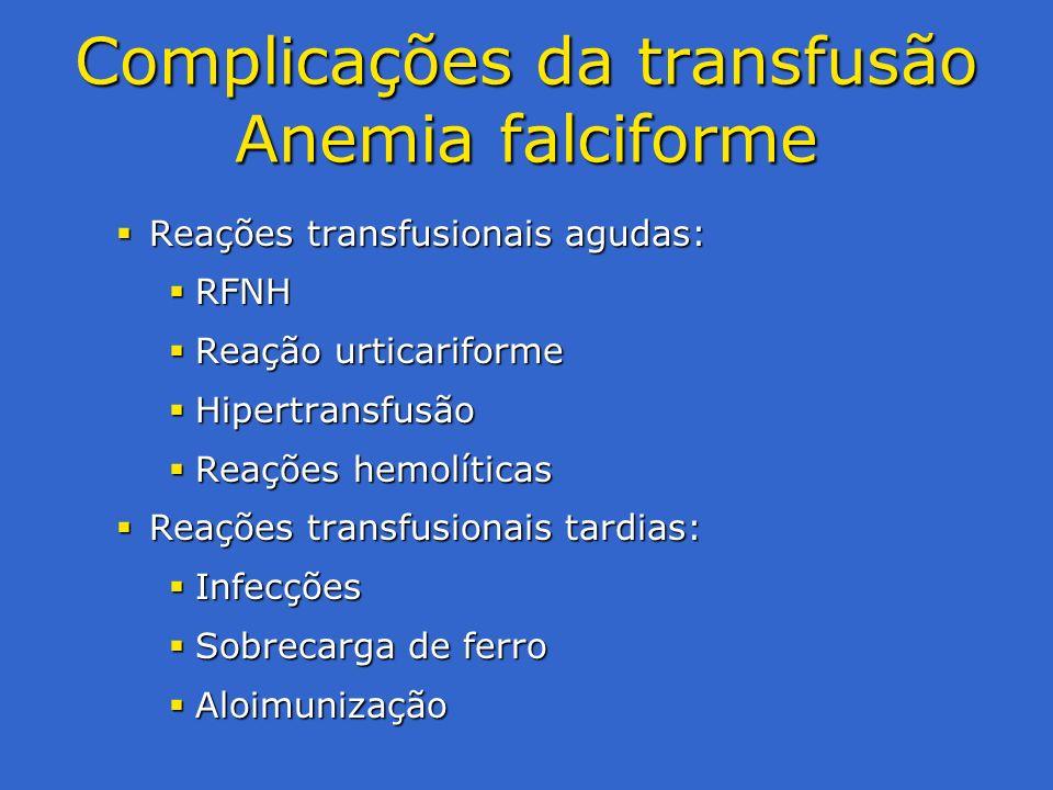 Complicações da transfusão Anemia falciforme