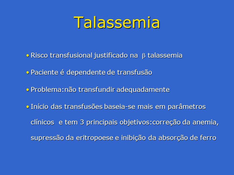 Talassemia Risco transfusional justificado na  talassemia