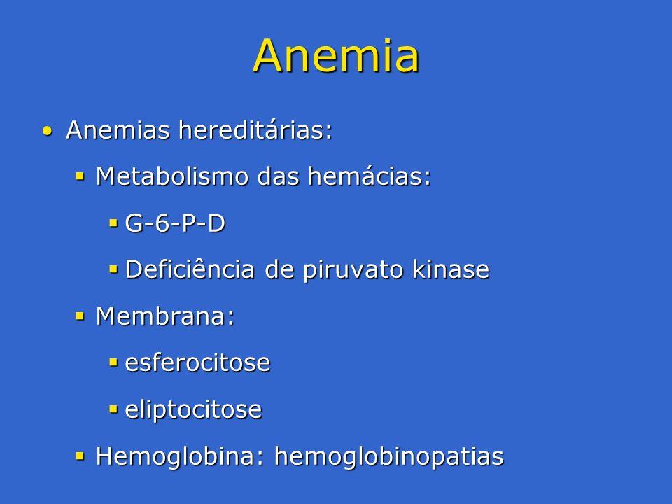 Anemia Anemias hereditárias: Metabolismo das hemácias: G-6-P-D