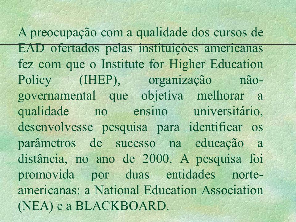 A preocupação com a qualidade dos cursos de EAD ofertados pelas instituições americanas fez com que o Institute for Higher Education Policy (IHEP), organização não-governamental que objetiva melhorar a qualidade no ensino universitário, desenvolvesse pesquisa para identificar os parâmetros de sucesso na educação a distância, no ano de 2000.