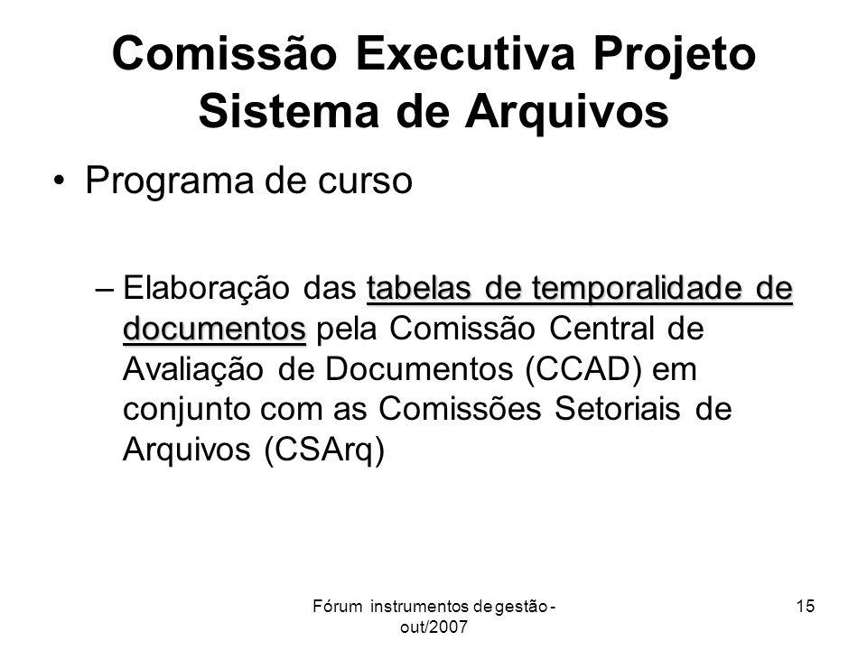 Comissão Executiva Projeto Sistema de Arquivos