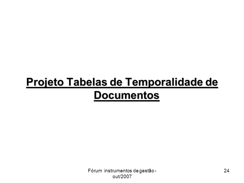 Projeto Tabelas de Temporalidade de Documentos