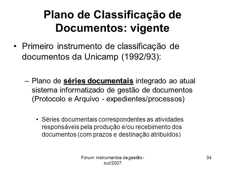 Plano de Classificação de Documentos: vigente