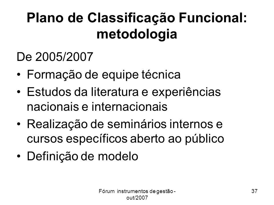 Plano de Classificação Funcional: metodologia