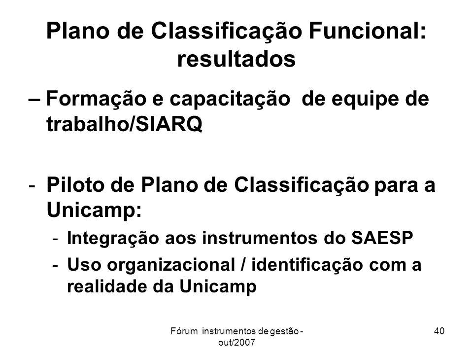 Plano de Classificação Funcional: resultados