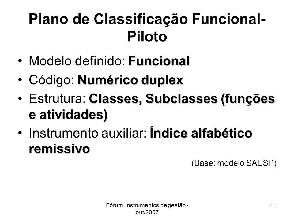 Plano de Classificação Funcional- Piloto