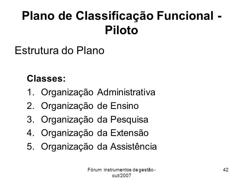 Plano de Classificação Funcional - Piloto