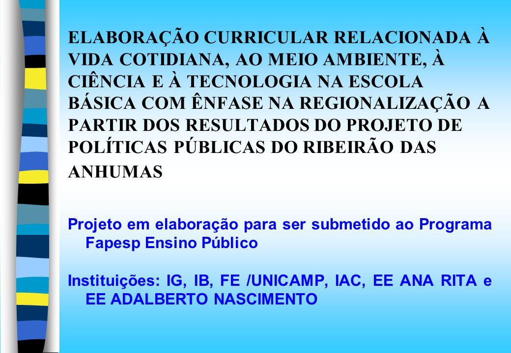 ELABORAÇÃO CURRICULAR RELACIONADA À VIDA COTIDIANA, AO MEIO AMBIENTE, À CIÊNCIA E À TECNOLOGIA NA ESCOLA BÁSICA COM ÊNFASE NA REGIONALIZAÇÃO A PARTIR DOS RESULTADOS DO PROJETO DE POLÍTICAS PÚBLICAS DO RIBEIRÃO DAS ANHUMAS