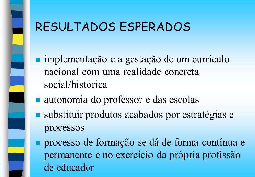 RESULTADOS ESPERADOS implementação e a gestação de um currículo nacional com uma realidade concreta social/histórica.
