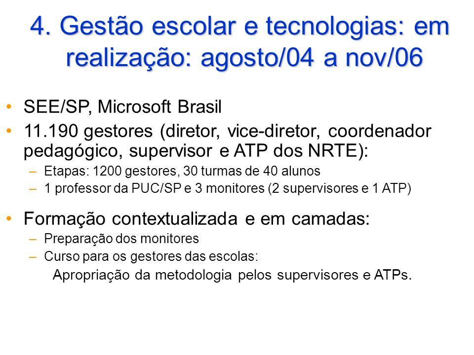 4. Gestão escolar e tecnologias: em realização: agosto/04 a nov/06