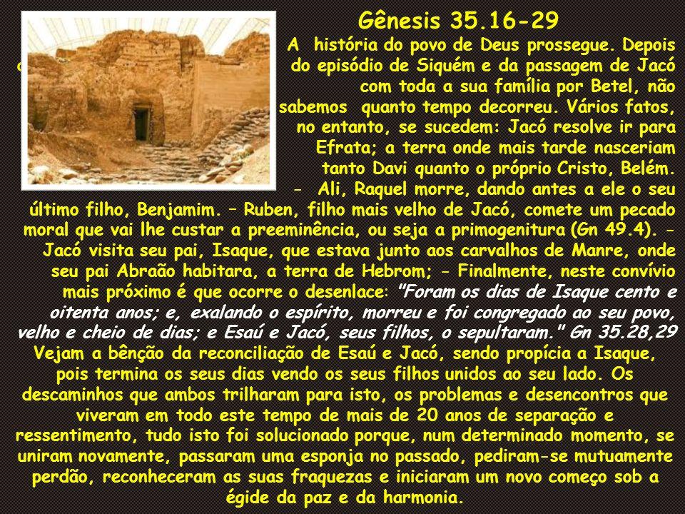 Gênesis 35.16-29 A história do povo de Deus prossegue. Depois