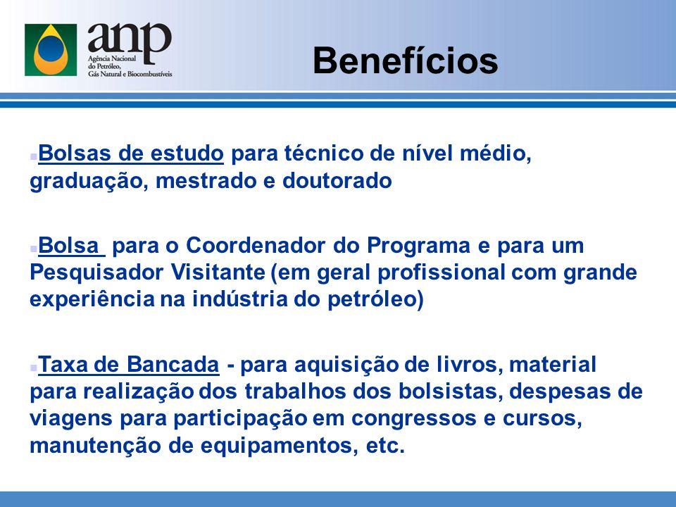 Benefícios Bolsas de estudo para técnico de nível médio, graduação, mestrado e doutorado.