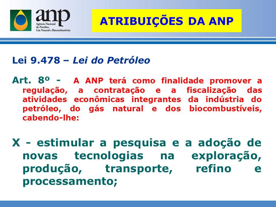 ATRIBUIÇÕES DA ANP Lei 9.478 – Lei do Petróleo.