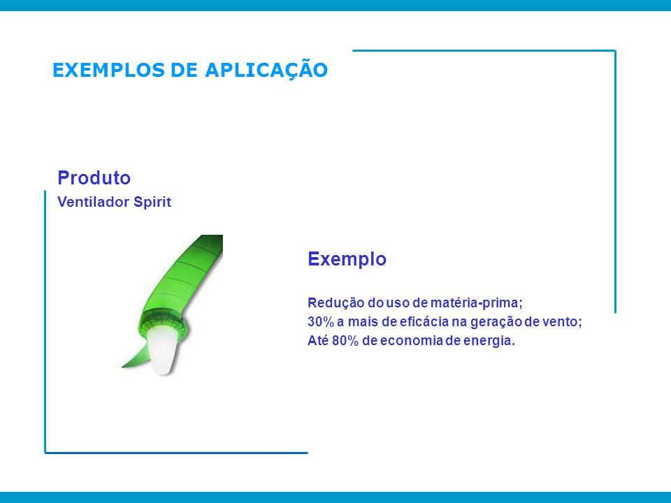 EXEMPLOS DE APLICAÇÃO Produto Exemplo Ventilador Spirit