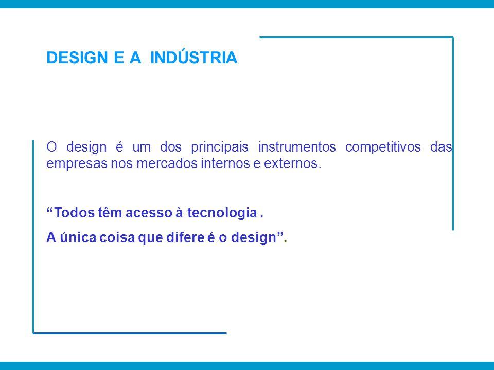 DESIGN E A INDÚSTRIA O design é um dos principais instrumentos competitivos das empresas nos mercados internos e externos.