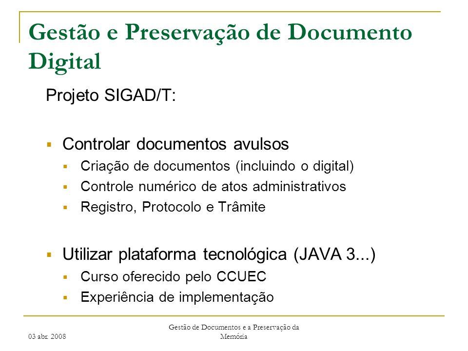 Gestão e Preservação de Documento Digital