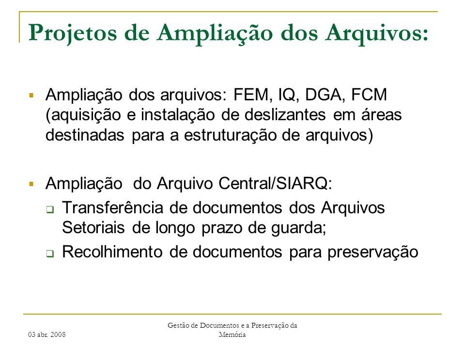 Projetos de Ampliação dos Arquivos: