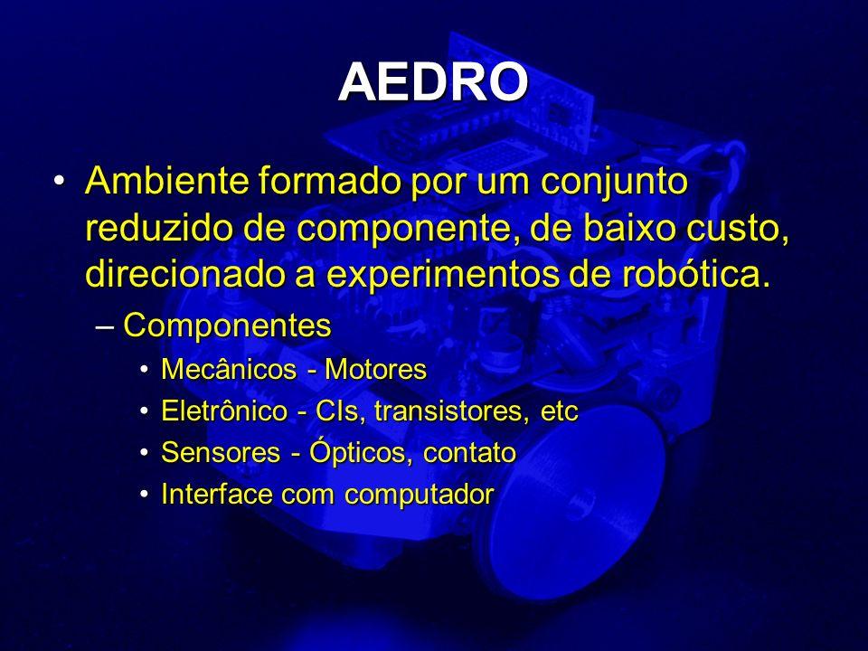 AEDRO Ambiente formado por um conjunto reduzido de componente, de baixo custo, direcionado a experimentos de robótica.