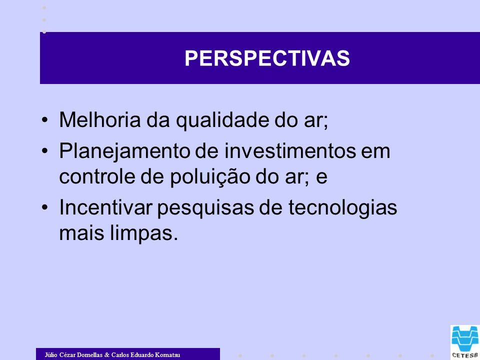 PERSPECTIVAS Melhoria da qualidade do ar; Planejamento de investimentos em controle de poluição do ar; e.